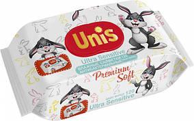 Серветки вологі антибактеріальні Unis для дітей, без запаху (120шт.)