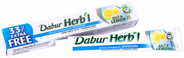 """Зубная паста Dabur Herb'l """"Отбеливающая. Соль и лимон"""" (60г + 20г)"""