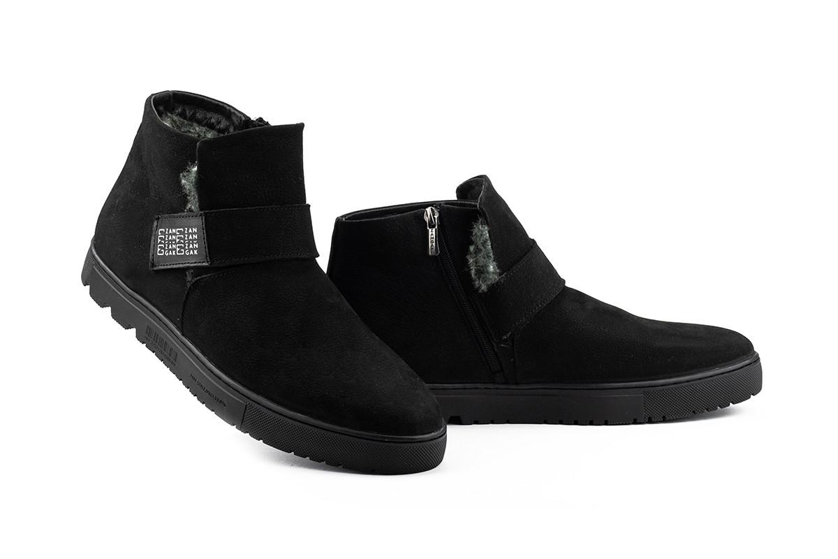 Мужские ботинки кожаные зимние черные-нубук Zangak 161 чн