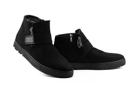 Мужские ботинки кожаные зимние черные-нубук Zangak 161 чн, фото 2