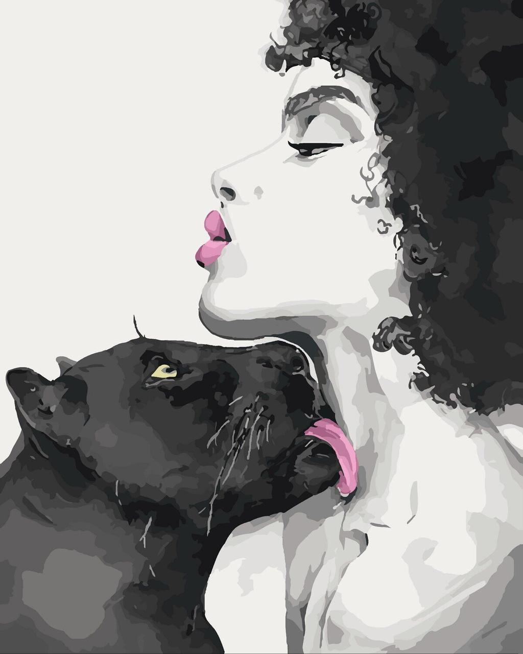 КНО4506 Раскраска по номерам Поцелуй пантеры, Без коробки