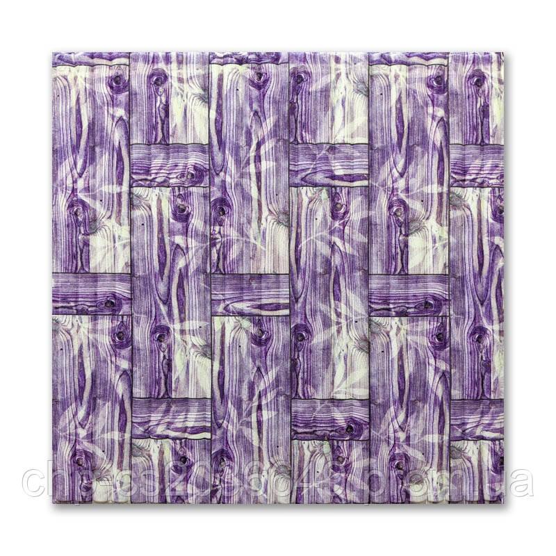 Самоклеящаяся 3D панель обои 700x770x8мм бамбуковая кладка фиолет