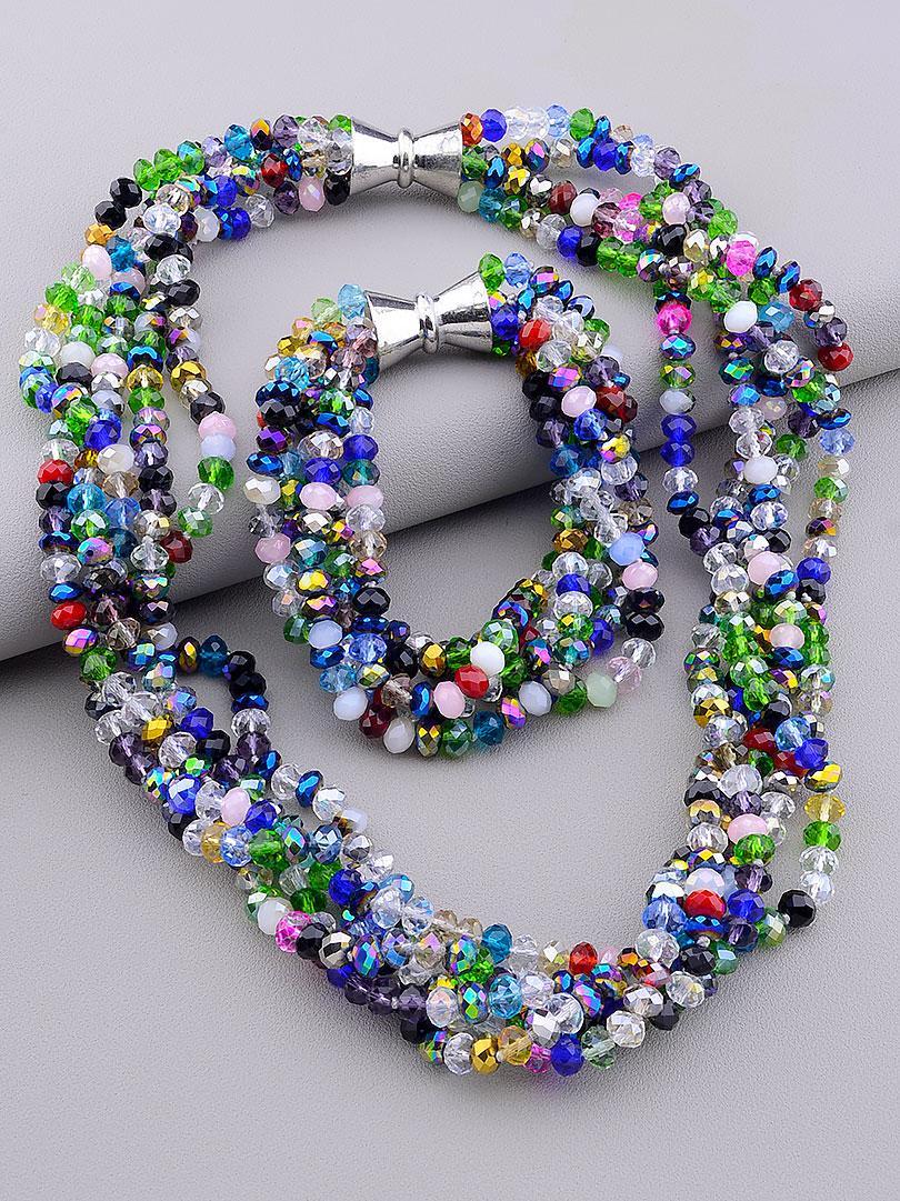 Комплект украшений бусы и браслет  Чешский хрусталь 50 см
