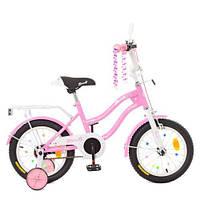 Велосипед детский PROF1 14д. XD1491 (1шт) Star, розовый,свет,звонок,зерк.,доп.колеса, фото 1