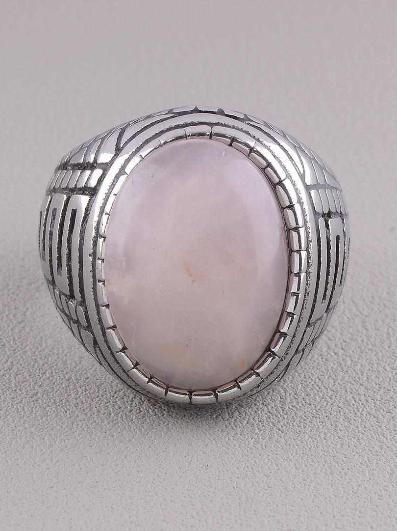 Кольцо на палец  'Stainless Steel' Розовый кварц Медицинская сталь 316L25,5 г