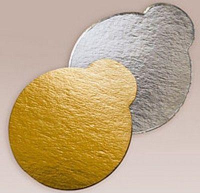 Подложка под торт круглая с ушком D 9 см Золото-Серебро