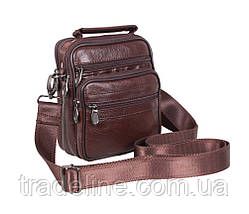 Мужская кожаная сумка Dovhani A2-5010CF3 Коричневая 17,5 х 14 х 8см, фото 2