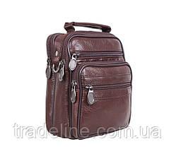 Мужская кожаная сумка Dovhani A2-5010CF3 Коричневая 17,5 х 14 х 8см, фото 3