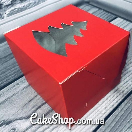 Коробка для 1 кекса с ёлкой, Красная