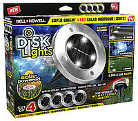 Солнечные уличные светильники для дома и сада Solar Disk Lights комплект из 4-х штук 183007