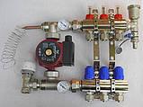 Коллектор для теплого пола на 3 выхода с насосом в сборе KOER (Чехия), фото 3