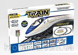 Железная дорога 9004 (локомотив, 3 вагона, дорожные знаки), в коробке