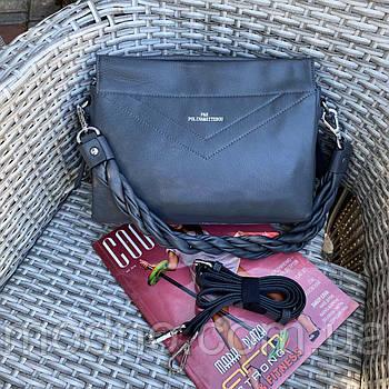Женская кожаная мягкая сумка на и через плечо Polina & Eiterou