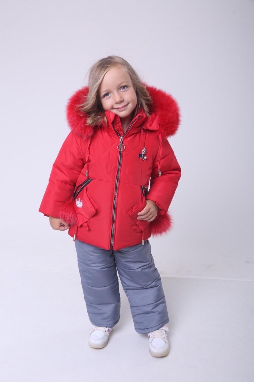 Детские зимние костюмы для девочки 22-28 красный