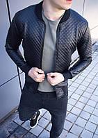 Мужская стеганая кожаная куртка бомбер черная, фото 1