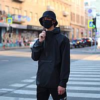 Мужская черная осенняя куртка анорак