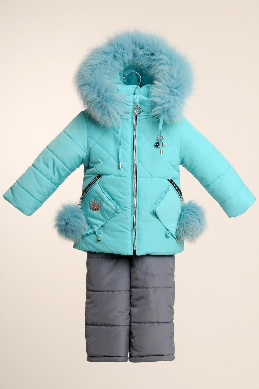 Дитячі зимові костюми для дівчинки 22-28 Бірюза