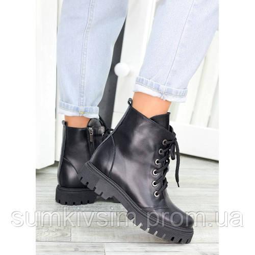Женские кожаные  ботинки берцы черные