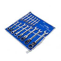 Набор ключей с трещоткой и шарниром 14 ед. 8-24 мм на полотне Profline 60239