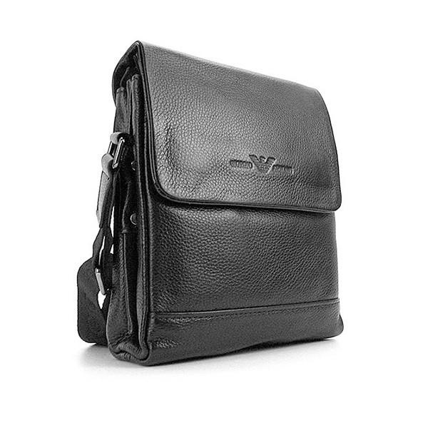 Чоловіча маленька сумка Armani 7911-1 шкіряна чорна вертикальна через плече