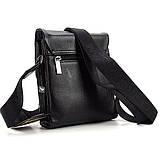 Чоловіча маленька сумка Armani 7911-1 шкіряна чорна вертикальна через плече, фото 3
