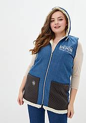 Жіноча утеплена джинсова жилетка (підклад: еко-хутро), великі розміри