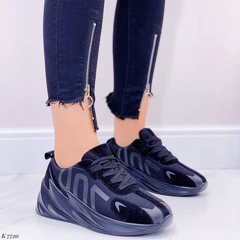Кросівки жіночі чорні на платформі текстильні. Кросівки жіночі чорні на платформі, фото 2
