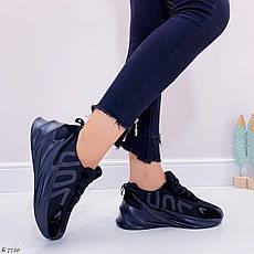 Кросівки жіночі чорні на платформі текстильні. Кросівки жіночі чорні на платформі, фото 3