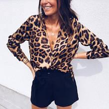 Женская блузка леопардовая - L (бюст 96-98см), вырез около 30см, без застежек и пуговиц
