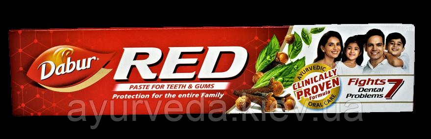 Зубная паста RED Dabur (200gm) мята перечная, гвоздика, имбирь, перец, очищенная красная глина