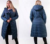 Зимняя темно-синяя длинная женская куртка 48,50,52,54,56, фото 1