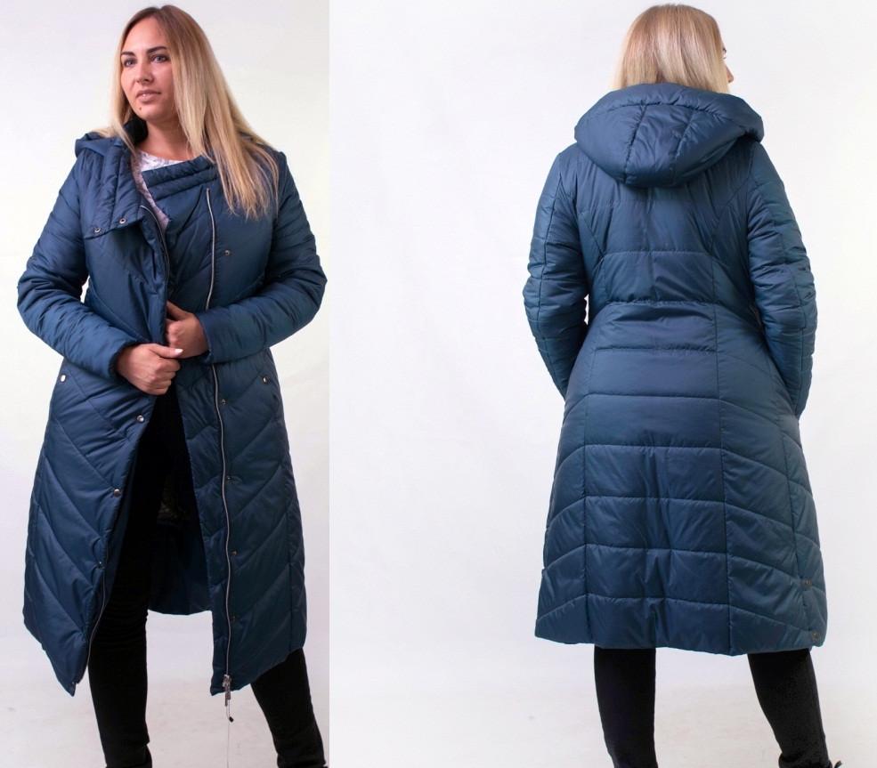 Зимняя темно-синяя длинная женская куртка 48,50,52,54,56