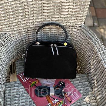 Женская замшевая сумка бочонок на и через плечо Polina & Eiterou