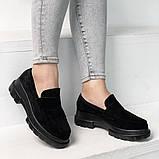 Женские туфли замшевые на тракторной подошве 6 см черные, фото 2