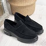 Женские туфли замшевые на тракторной подошве 6 см черные, фото 3