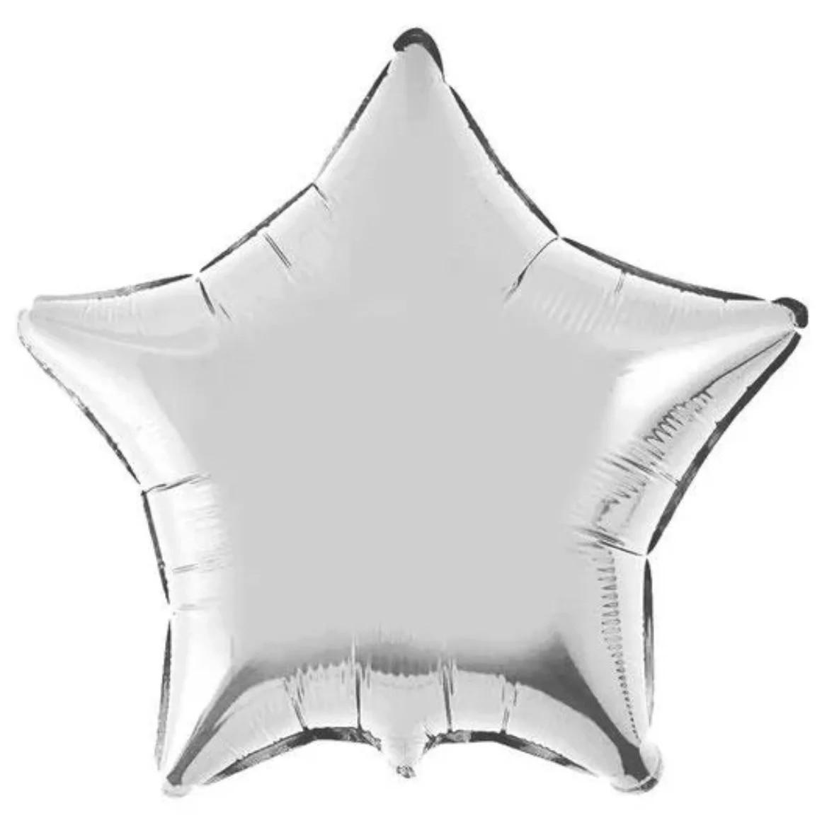 Фольгированный шар 5' Китай Звезда серебро, 12 см