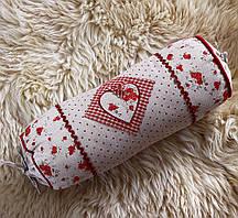 Незвичайна подушка циліндр-Серце з трояндочками