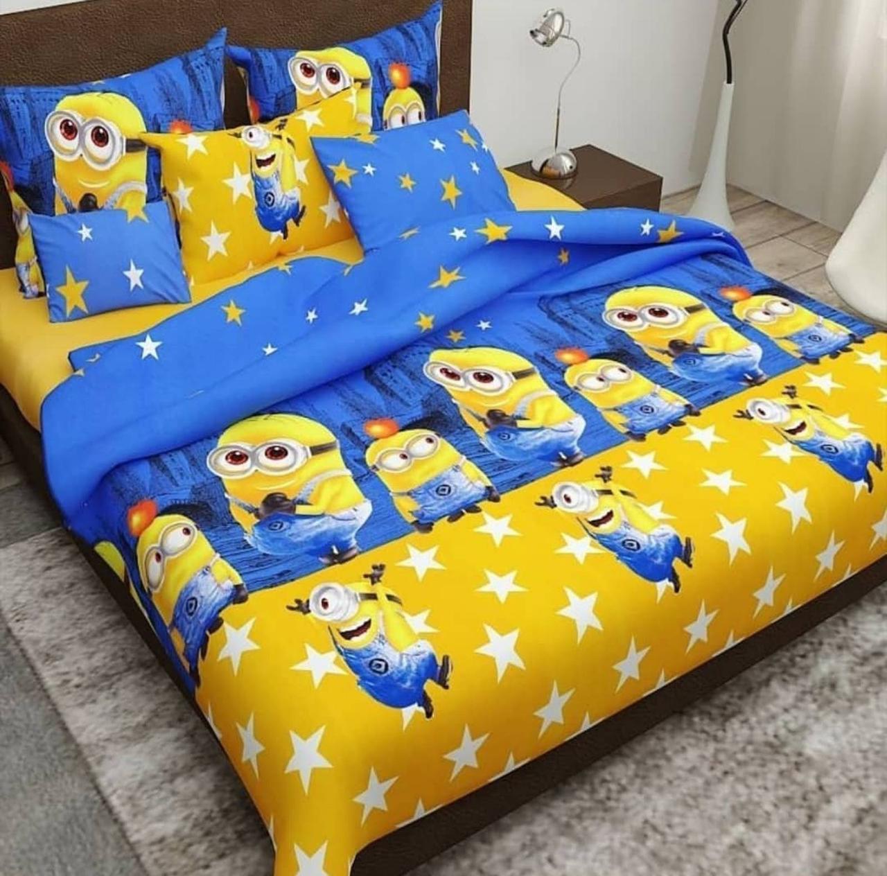 Комплект постельного белья подростковый  полуторный Миньоны