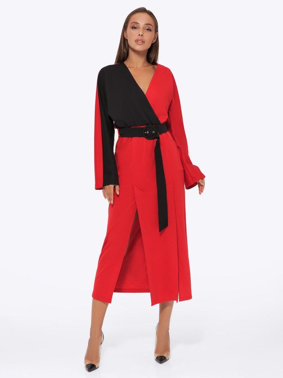 Сукня трикотажне жіноче AniTi 551, червоно-чорний (чорний пояс)