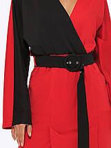 Сукня трикотажне жіноче AniTi 551, червоно-чорний (чорний пояс), фото 3