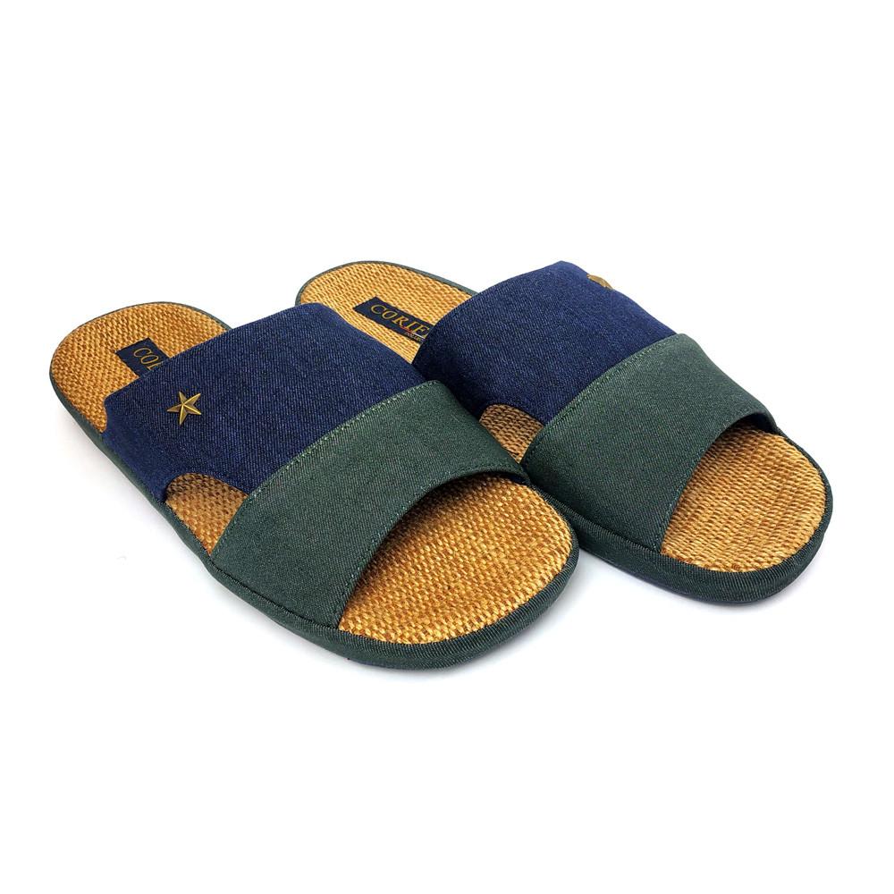 Мужские домашние тапочки Runpole комнатные открытый носок синие 43 (27,5-28 см)