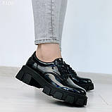 Женские туфли на шнурках на тракторной подошве, фото 7