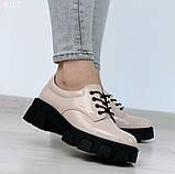 Женские туфли на шнурках на тракторной подошве, фото 6