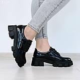 Женские туфли на шнурках на тракторной подошве, фото 9