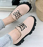 Женские туфли на шнурках на тракторной подошве, фото 3