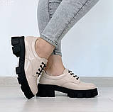 Женские туфли на шнурках на тракторной подошве, фото 4