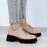 Женские туфли на шнурках на тракторной подошве, фото 5