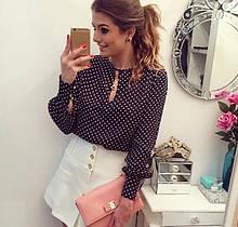 Женская блузка в горошек - 2XL (бюст 98-100см), полиэстер, застежка только на рукавах