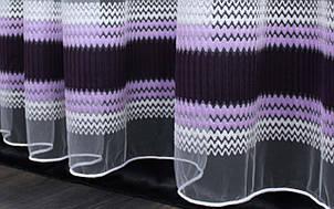 Тюль фатин полоса, цвет сиреневый с фиолетовым. Код 313т, фото 2