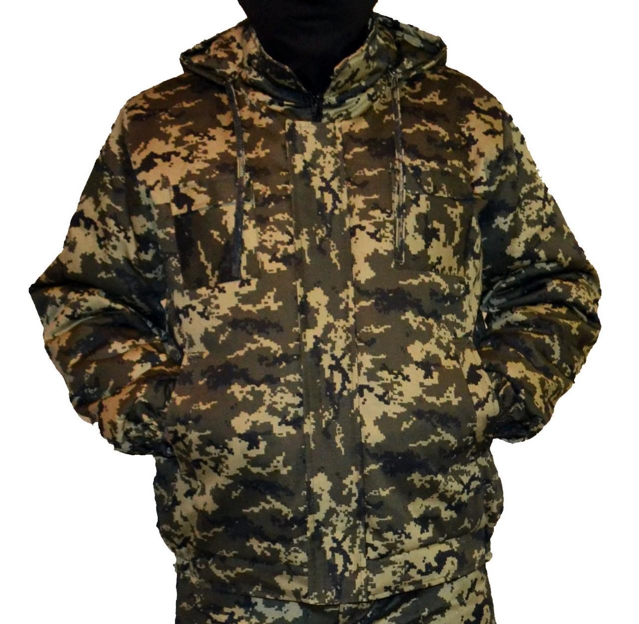 Куртка зимняя на резинке Пиксель с капюшоном р.48-58 50